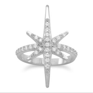 Jewelry - .925 sterling silver CZ Starburst Ring