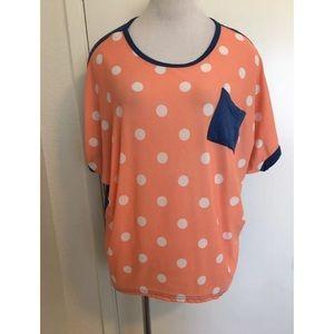 Peach Polka Dot Shirt Large