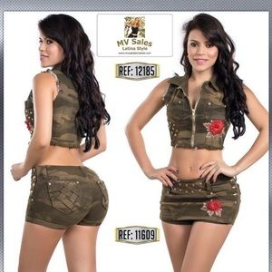 Two Piece Colombian Butt Lift Skort & Vest Top