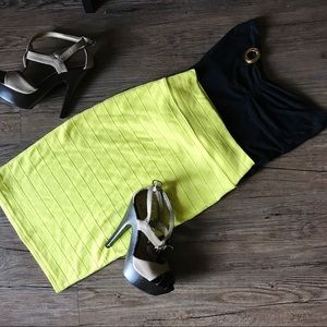 Forever 21 Skirts - F21 neon yellow midi body con skirt // size small