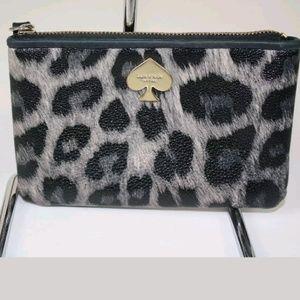 Kate Spade Wristlet Leopard Gray Black