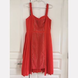 Anthropologie red/orange and cream pleated dress