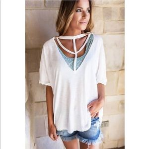 Ivory cut out tee