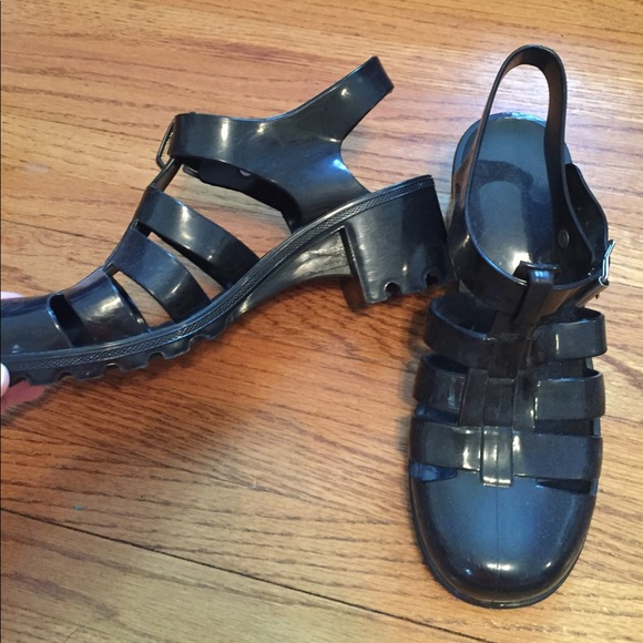 Boohoo Shoes - Black Gel Clog Sandals