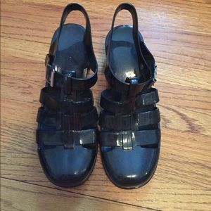 Black Gel Clog Sandals