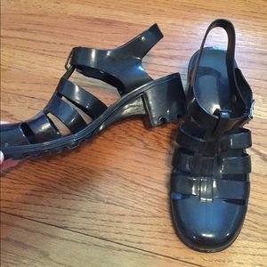 Boohoo Shoes - Black Gel Clog Sandals