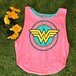 D.C. Comics Wonder Woman pink crop top tank