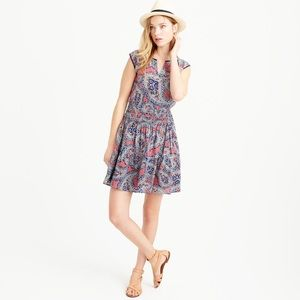 J. Crew Silk Smocked Waist Dress in Paisley Print
