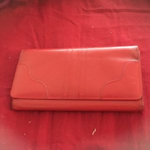 3 fold genuine leather red wallet