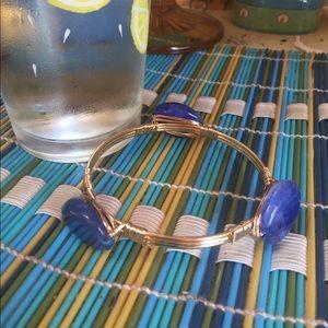 NWOT Blue Polished Stone Bangle Bracelet