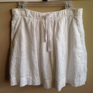 J. Crew White Linen Skirt. Fully lined w/pockets