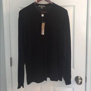 NWT black Johnston & Murphy crew neck sweater, L