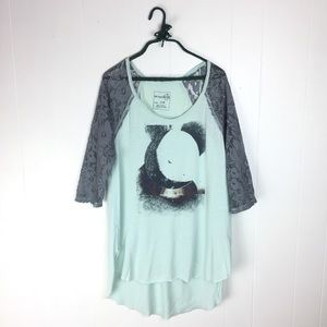 We The Free Mint Crescent Graphic Lace Tee Tunic