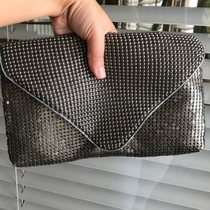 Handbags - woven silver beaded Clutch with shoulder strap