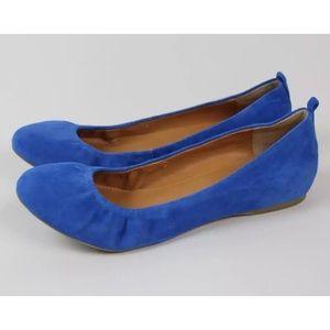 J. Crew Cece Blue Suede Round Toe Ballet Flats