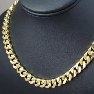 18K Stamped Cuban Link Gold Chain Hip Hop New