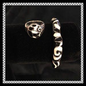Jewelry - Genuine Sterling Silver & Enamel Bracelet & Ring