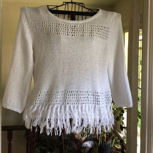 Fringed loose knit sweater. Sz XL