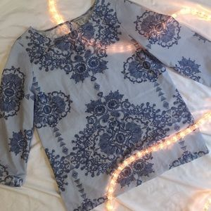 Tops - Blue Patterned Blouse