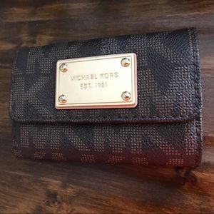 Michael Kors Brown Leather Jet Set Coin/Card pouch