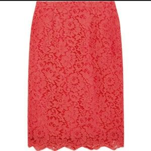 Modcloth coral fitted lace pencil skirt xs/s