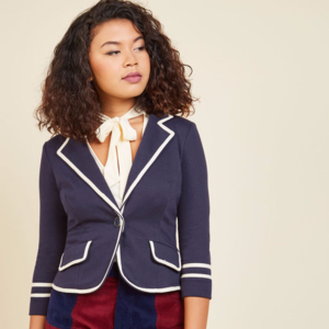 Modcloth NY Collection Blazer Navy and White