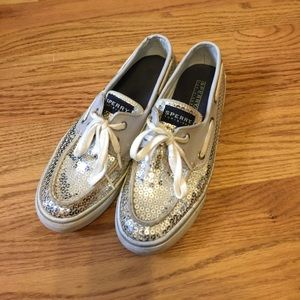 Sparkly silver Sperry's Top-Sider