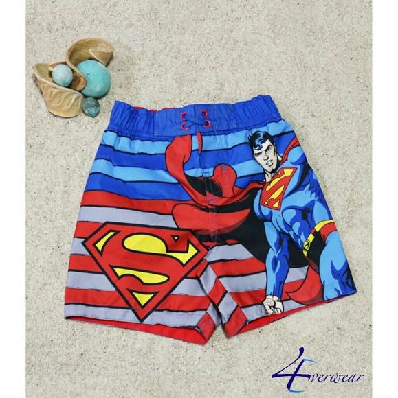1f58e95dc7 SUPERMAN BOYS' STRIPED SWIM TRUNKS. Boutique. DC Comics Originals Licensed  Merchandise