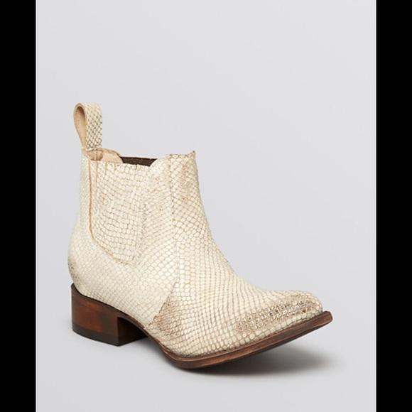 Freebird White Snakeskin Boots