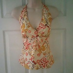 JCREW BOHO HALTER TOP QUILTING SEWING DETAIL NWOT