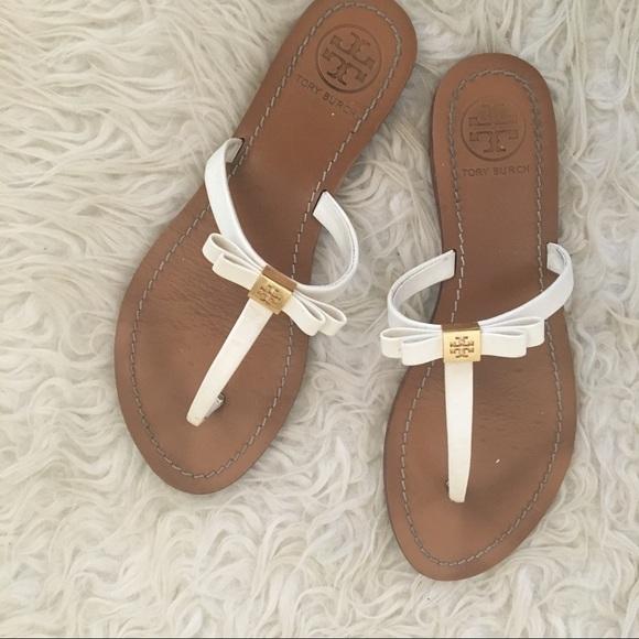 0f91f94cfd2 Tory Burch White Ribbon sandals flip flop. M 596bc89978b31cd5fa01731d