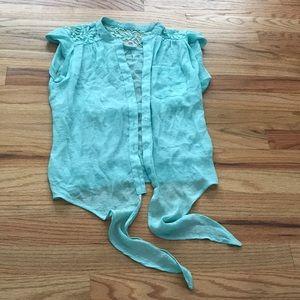 Mine Mint Green Size S Tie Blouse