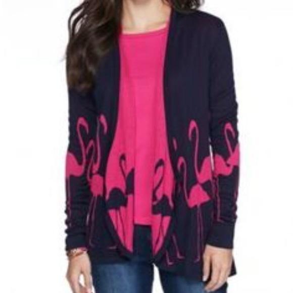 9c72b2134c6 Crown   Ivy Sweaters - Crown   Ivy navy blue   pink flamingo ...