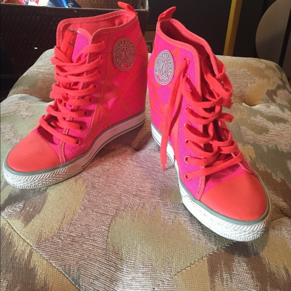 5c6e9a48f2f Dkny Shoes - DKNY Pink Orange Criss-cross Wedge Sneakers