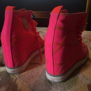 41a29fd0395 Dkny Shoes - DKNY Pink Orange Criss-cross Wedge Sneakers