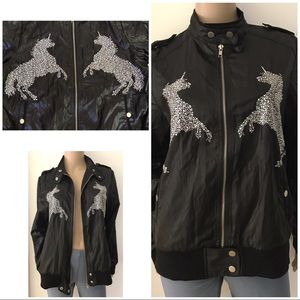 EUC Rhinestones Unicorn Windbreaker Moto Jacket