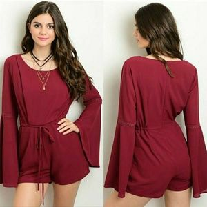 Pants - 🔴CLEARANCE🔴 Burgundy Bell Sleeve Romper
