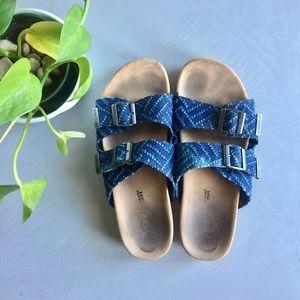 Minnetonka Double Strap Denim Buckle Sandals