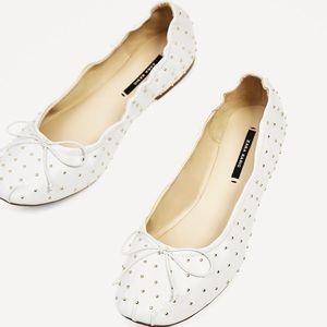 NWT ZARA Studded Ballerina Flats