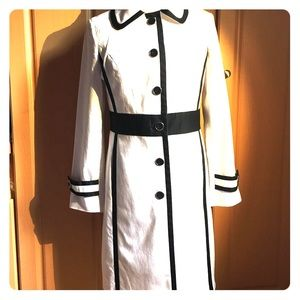 White trench coat with black piping by Alfani