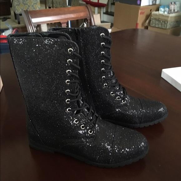 Balera Black Glitter Combat Boots Dance