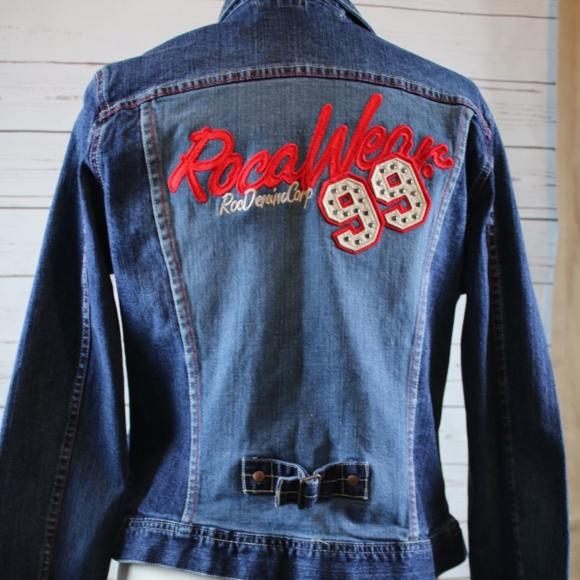 Rocawear 99 Denim Jean Jacket With Logo Size XL M 596bd6d156b2d62d6a01b01b