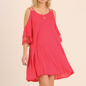 Open Shoulder Umgee Dress with Lace Trim