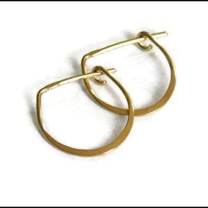 14k SOLID gold u shaped hoop earrings