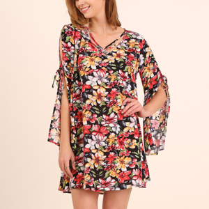 Floral Print Umgee Boho Dress with Slit Sleeves