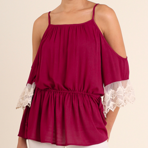 Cold Shoulder Umgee Tunic with Lace Trim