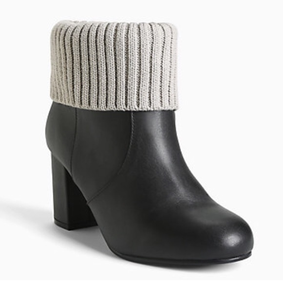 b7a6b331064b 12 🆕 Torrid Genuine Leather Knit Top Ankle Boots