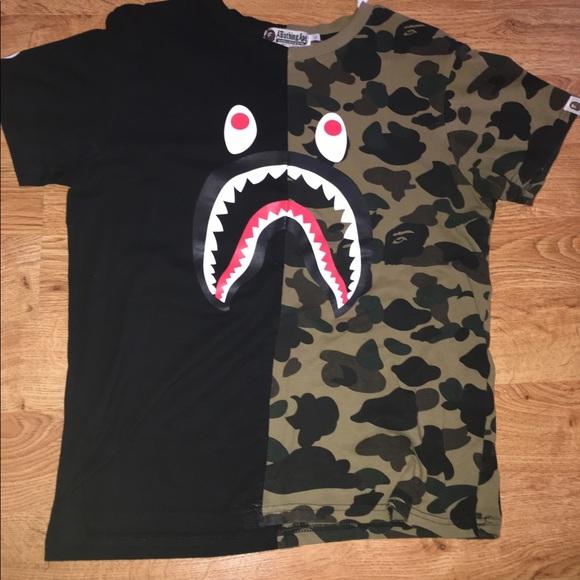 4dfc95be54933 BAPE Other - A bathing ape shark face cut and sew t shirt