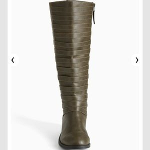 60ece6cea55 torrid Shoes - 🆕 Wide Width Olive Strappy Front Knee High Boots