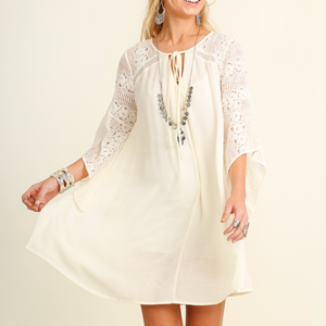 Bell Sleeve Umgee Dress With Lace Detail